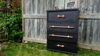 Students: Retro dresser with pulls made from copper pipes!