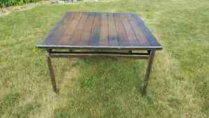 Old industrial  hard wood vintage table steal and old wood