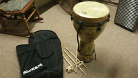 Remo Djembe + Carry Case + Sticks and Spoon Percussion