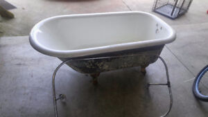 Cast Iron Tub with the old shower rod