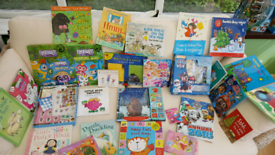 Selection of books and Paw Patrol figurines