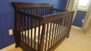 Solid Wood Cherry Brown Convertible Crib w/ mattress & covers
