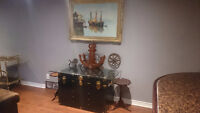 Antique Steam Trunk, With Beautiful Painting, and more Decor.