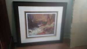 Group of 7 Seven paintings prints framed  37.5 x 34 inches