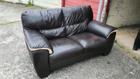 Brown leather couch and matching chair