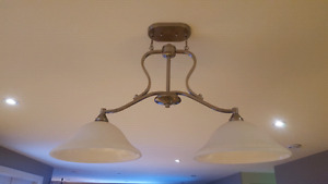 Ceiling light fixture, pewter, 2 glass shades