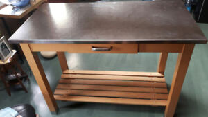 Kitchen Island, Stainless Steel and Wood