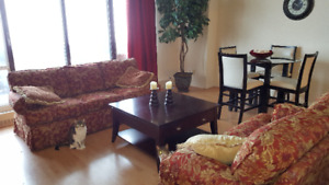 Red/Gold Brocade Sofa & Loveseat for Sale