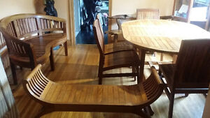 Unique 10 pc teak dinning set, table 6 chairs setee REDUCED