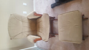Light brown glding nursing chair & ottoman -Excellent condition