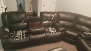 Black sectional leather couch