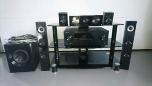 Surround Sound and Glass Entertainment Stand