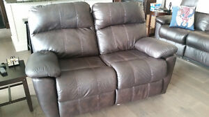 Nice Leather Reclining Sofa, Loveseat, Chair, with round coffee
