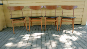 Set of 4 Mid century teak dining chairs