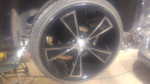 SET OF 4 HAIDA STAGGERED RIMS WITH TIRES ( 80% thread)