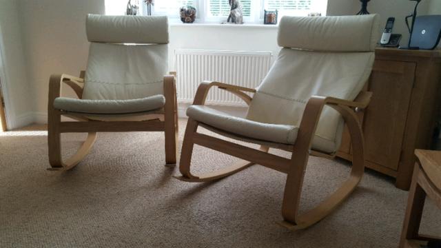 Astounding Pair Of Ikea Leather Rocking Chairs In Barnsley South Yorkshire Gumtree Spiritservingveterans Wood Chair Design Ideas Spiritservingveteransorg