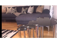 Black Glass set of Coffee Tables