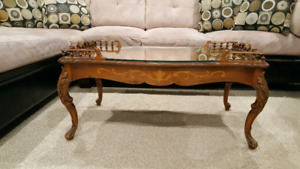 GLASS TOP CARVED, INLAID COFFEE TABLE. VERY NICE TABLE