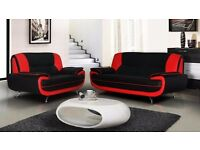 SALE ON BRAND NEW - CAROL 3 + 2 SEATER LEATHER SOFA AVAILABLE IN RED AND BLACK OR WHITE & BLACK