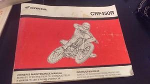 2003 Honda CRF450R Owner's Maintenance manual