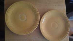 Genuine Fiesta ware dinner plates.