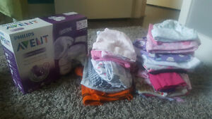 Avent breast pump, clothing, diapers and bottles