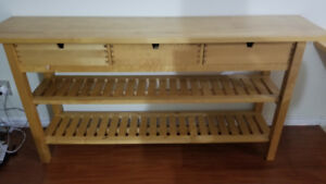 Ikea Dining Table Support Counter/Shelves with 3 drawers