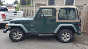 1999 jeep TJ 4 L. Manual transmission.