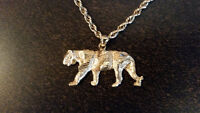 Gold Panther Pendant and Necklace