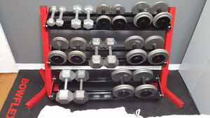 5-45LBS Dumbbell set with 3 tier rack & mat