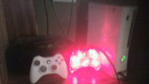 Xbox 360, 2 controllers, games.