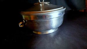 2 Vintage Hammered Aluminum Ice Buckets by NASCO Italy