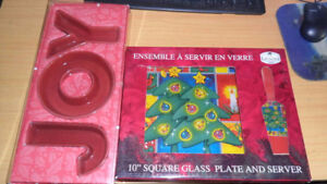 */*new 10'' SQUARE GLASS PLATE AND SERVER NOEL fête plat