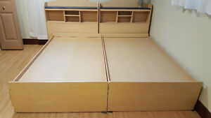 Two twin beds+ 2 head boards+4 drawer chest