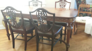 Antique Harvest Table & 4 Chairs