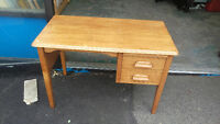 Small Vintage Solid Wood  2 Drawer Vintage Desk