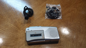 GE Brand Mini Cassette Recorder with Mic & Head