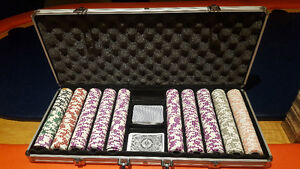 650 chip set (poker) Jackpot Casino Coin Inlay Cash Game Chips