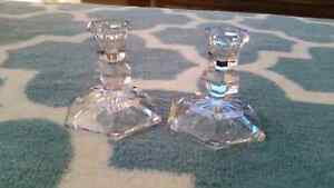 Pair of crystal candle holders