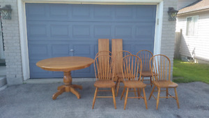 Solid Oak table with 6 chairs