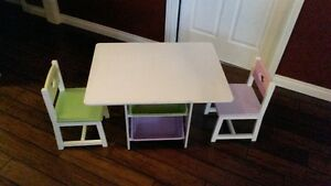 Kid Kraft Heart Table with Chairs and Storage Bins