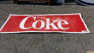 VERY LARGE VINTAGE COCA COLA [ COKE ] TIN SIGN;
