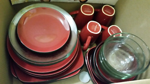 Red Earthstone and glass dishes