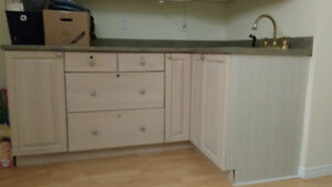 Hardwood Kitchen Cabinets and Countertop