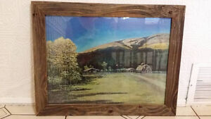 Handmade Barn Wood Frame with painting by Michelle Brewster.  26