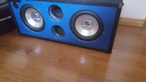 """Dual 10"""" 1200w 1990's Planet Audio subwoofers and box"""