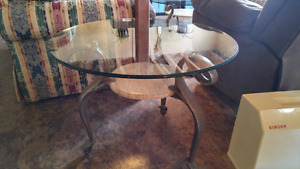 Marble coffee and end tables set