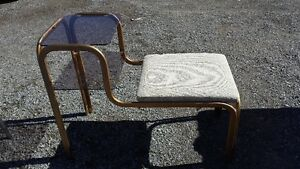 BRASS AND GLASS GOSSIP BENCH
