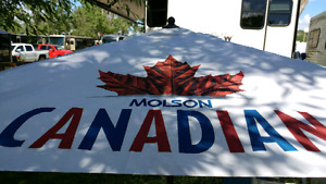 Molson Canadian umbrella with metal base
