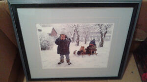 Picture 2 boys sled/dog